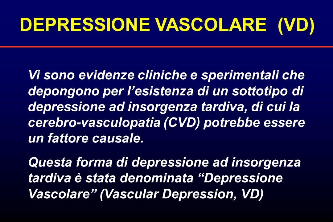 Vi sono evidenze cliniche e sperimentali che depongono per lesistenza di un sottotipo di depressione ad insorgenza tardiva, di cui la cerebro-vasculop