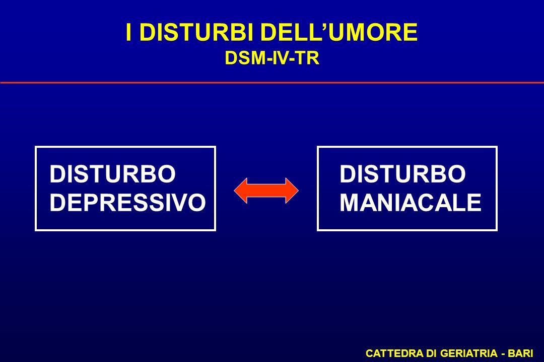 I DISTURBI DELLUMORE DSM-IV-TR CATTEDRA DI GERIATRIA - BARI DISTURBO DEPRESSIVOMANIACALE