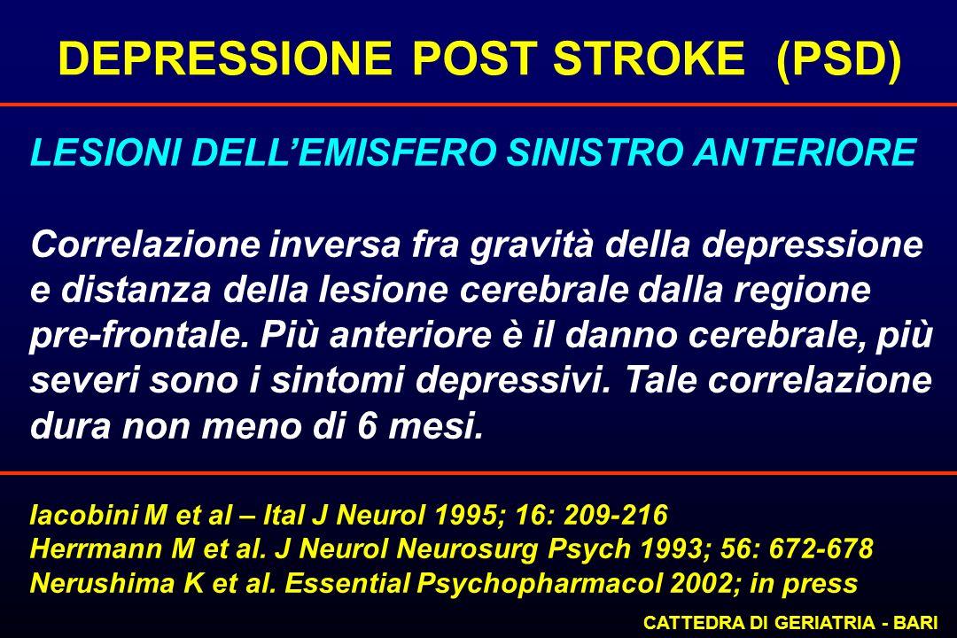 DEPRESSIONE POST STROKE (PSD) CATTEDRA DI GERIATRIA - BARI LESIONI DELLEMISFERO SINISTRO ANTERIORE Correlazione inversa fra gravità della depressione