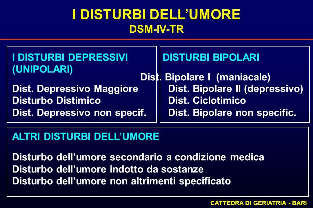 I DISTURBI DELLUMORE DSM-IV-TR CATTEDRA DI GERIATRIA - BARI I DISTURBI DEPRESSIVI DISTURBI BIPOLARI (UNIPOLARI) Dist. Bipolare I (maniacale) Dist. Dep