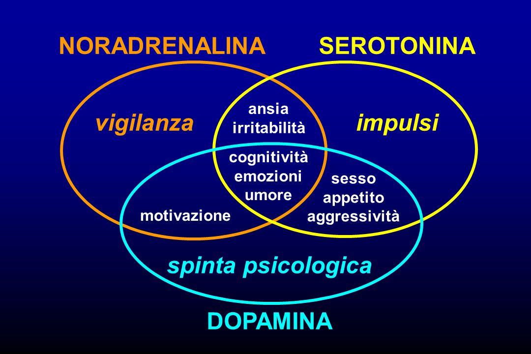 vigilanzaimpulsi spinta psicologica NORADRENALINASEROTONINA DOPAMINA ansia irritabilità cognitività emozioni umore sesso appetito aggressività motivaz