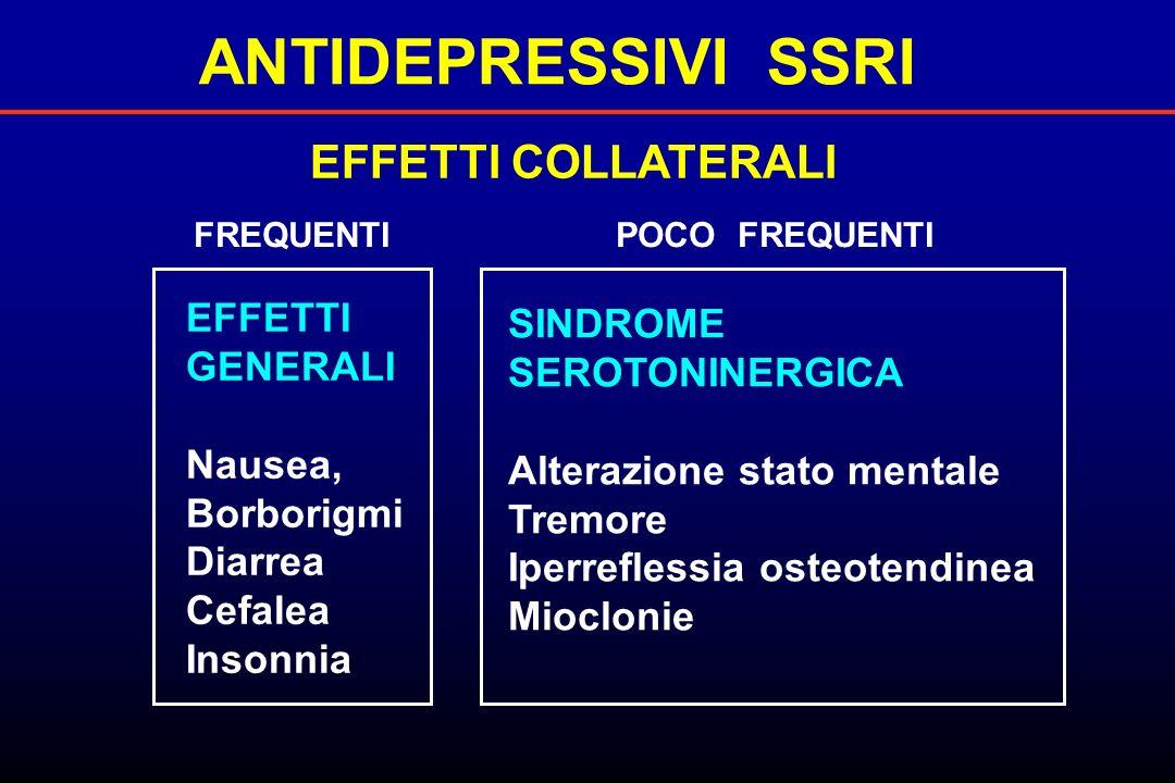 ANTIDEPRESSIVI SSRI EFFETTI COLLATERALI EFFETTI GENERALI Nausea, Borborigmi Diarrea Cefalea Insonnia SINDROME SEROTONINERGICA Alterazione stato mental