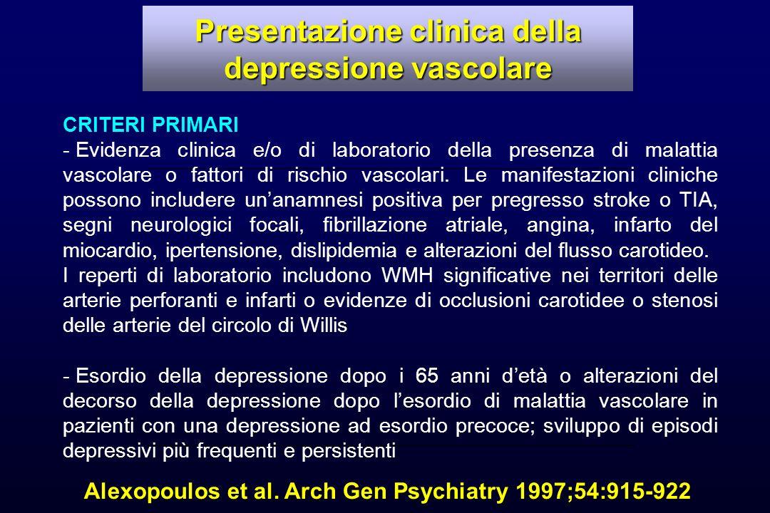 Alexopoulos et al. Arch Gen Psychiatry 1997;54:915-922 CRITERI PRIMARI - Evidenza clinica e/o di laboratorio della presenza di malattia vascolare o fa