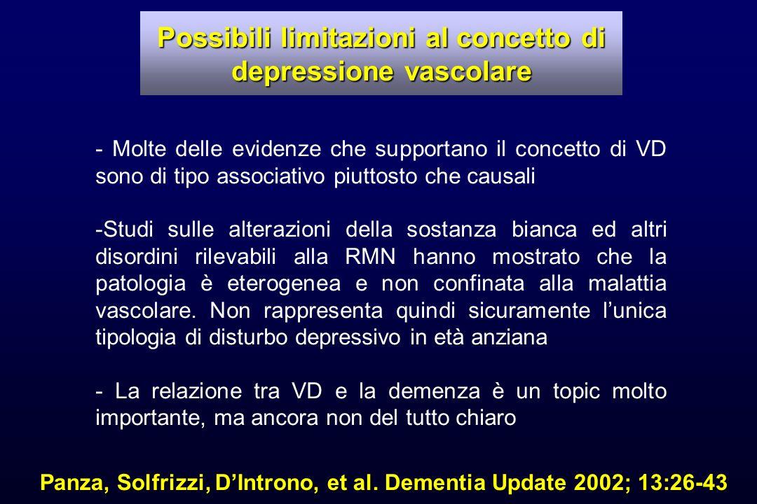 Possibili limitazioni al concetto di depressione vascolare Panza, Solfrizzi, DIntrono, et al. Dementia Update 2002; 13:26-43 - Molte delle evidenze ch