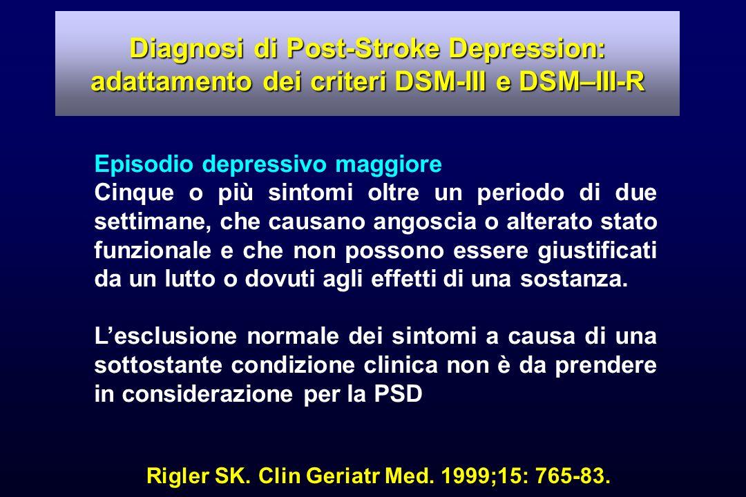 Rigler SK. Clin Geriatr Med. 1999;15: 765-83. Episodio depressivo maggiore Cinque o più sintomi oltre un periodo di due settimane, che causano angosci