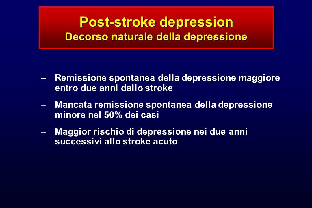 Post-stroke depression Decorso naturale della depressione –Remissione spontanea della depressione maggiore entro due anni dallo stroke –Mancata remiss
