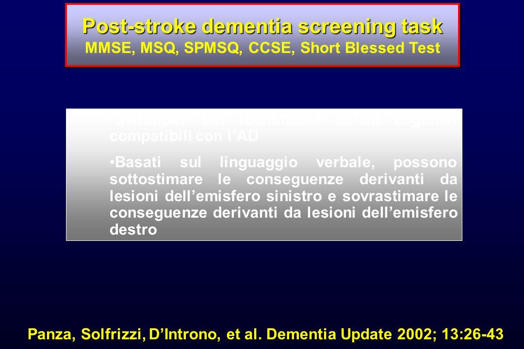 Post-stroke dementia screening task Post-stroke dementia screening task MMSE, MSQ, SPMSQ, CCSE, Short Blessed Test Sviluppati per identificare deficit