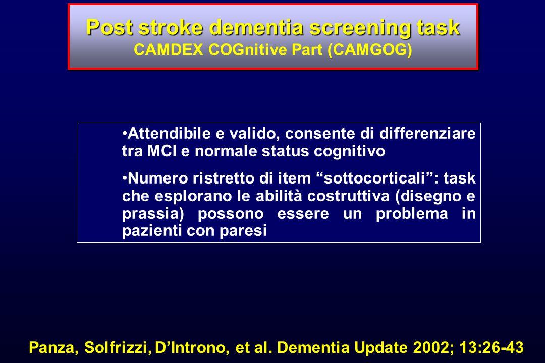 Panza, Solfrizzi, DIntrono, et al. Dementia Update 2002; 13:26-43 Post stroke dementia screening task Post stroke dementia screening task CAMDEX COGni