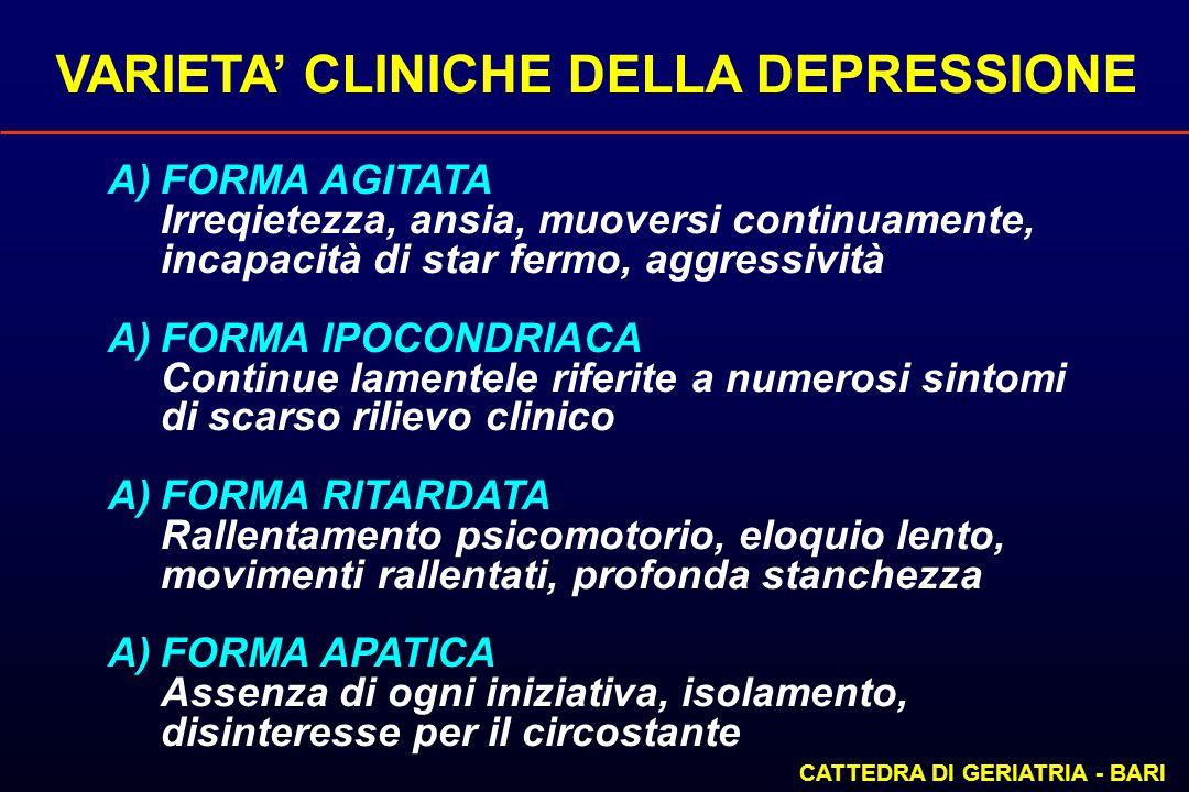 VARIETA CLINICHE DELLA DEPRESSIONE CATTEDRA DI GERIATRIA - BARI A)FORMA AGITATA Irreqietezza, ansia, muoversi continuamente, incapacità di star fermo,