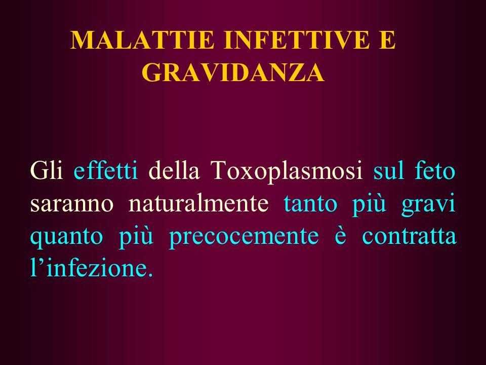 MALATTIE INFETTIVE E GRAVIDANZA Gli effetti della Toxoplasmosi sul feto saranno naturalmente tanto più gravi quanto più precocemente è contratta linfe