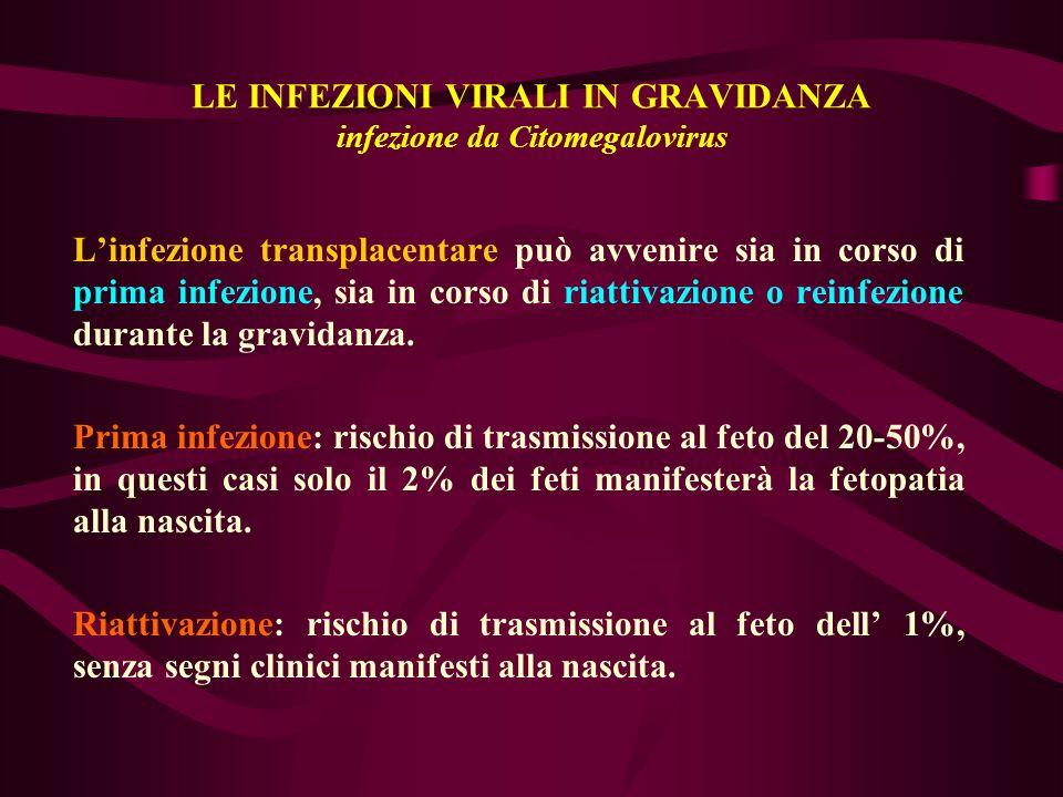 LE INFEZIONI VIRALI IN GRAVIDANZA infezione da Citomegalovirus Linfezione transplacentare può avvenire sia in corso di prima infezione, sia in corso d
