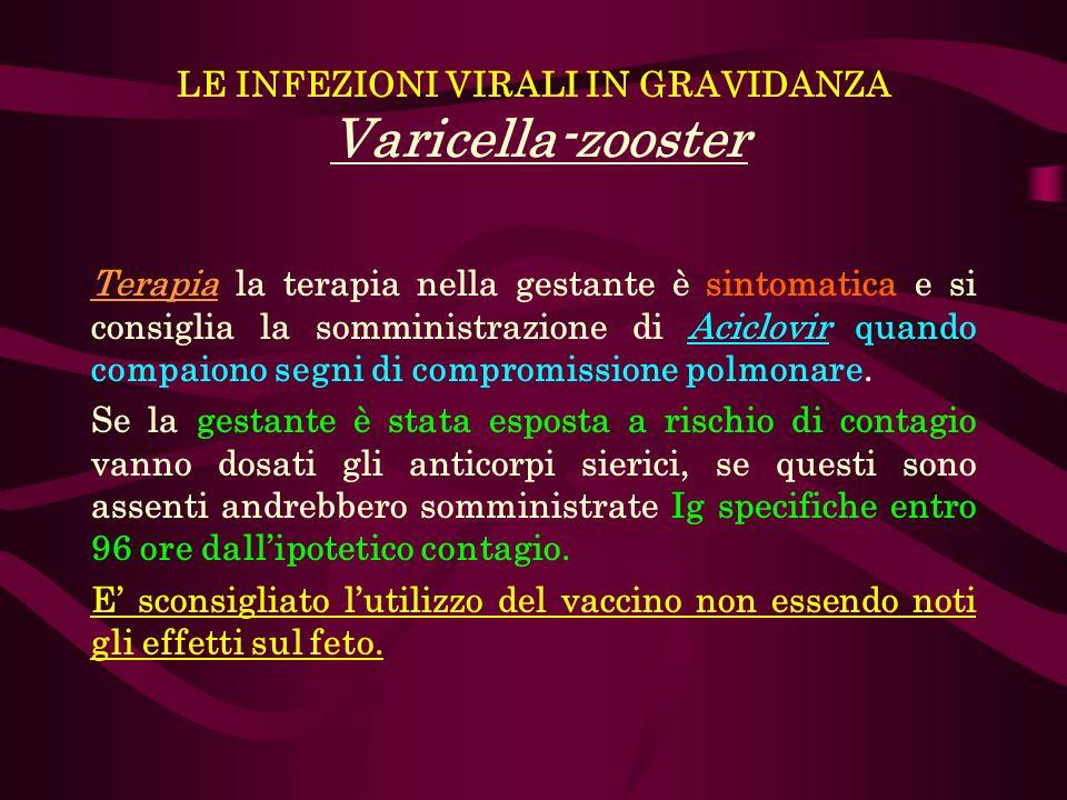LE INFEZIONI VIRALI IN GRAVIDANZA Varicella-zooster Terapia la terapia nella gestante è sintomatica e si consiglia la somministrazione di Aciclovir qu