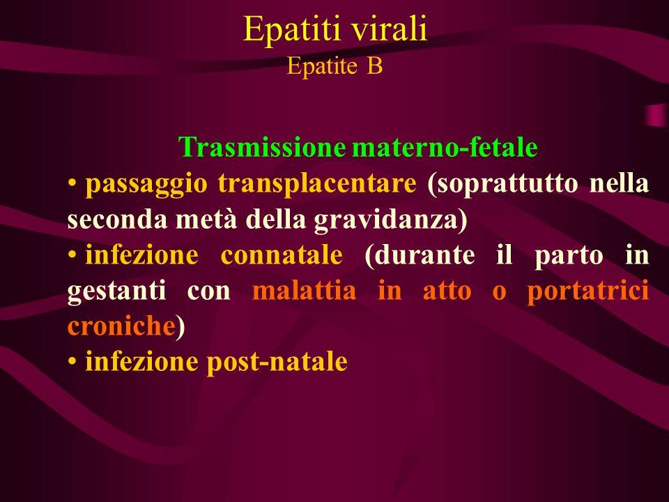 Epatiti virali Epatite B Trasmissione materno-fetale passaggio transplacentare (soprattutto nella seconda metà della gravidanza) infezione connatale (
