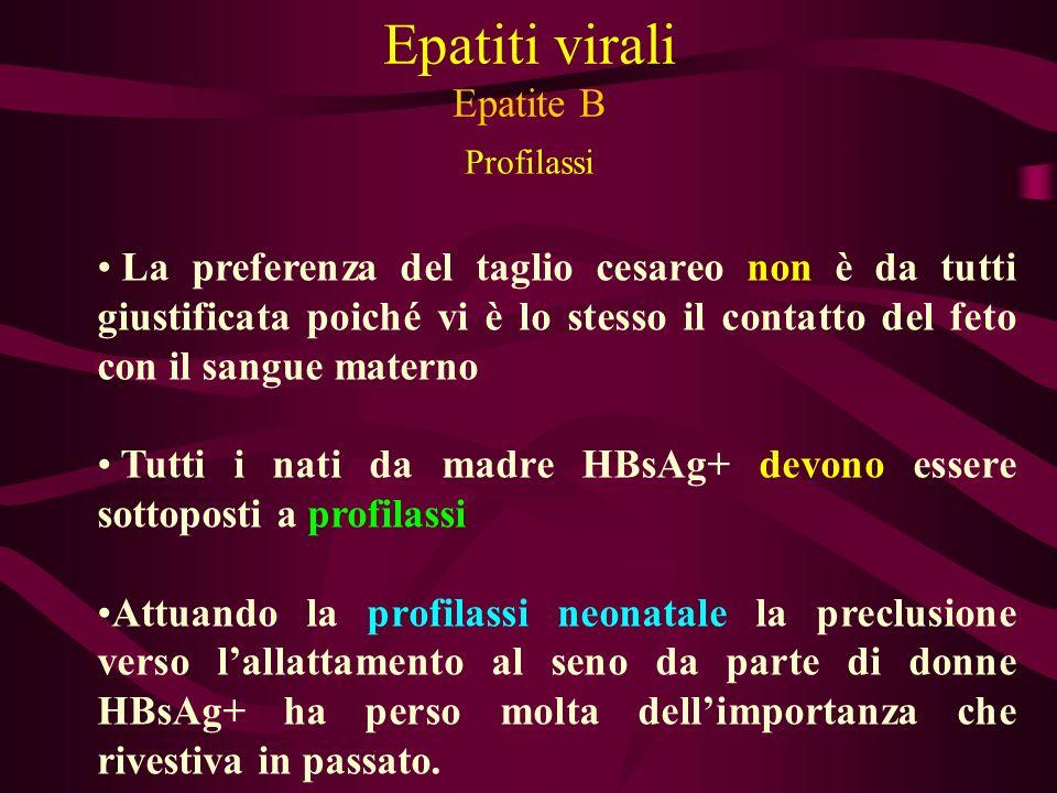 Epatiti virali Epatite B Profilassi La preferenza del taglio cesareo non è da tutti giustificata poiché vi è lo stesso il contatto del feto con il san