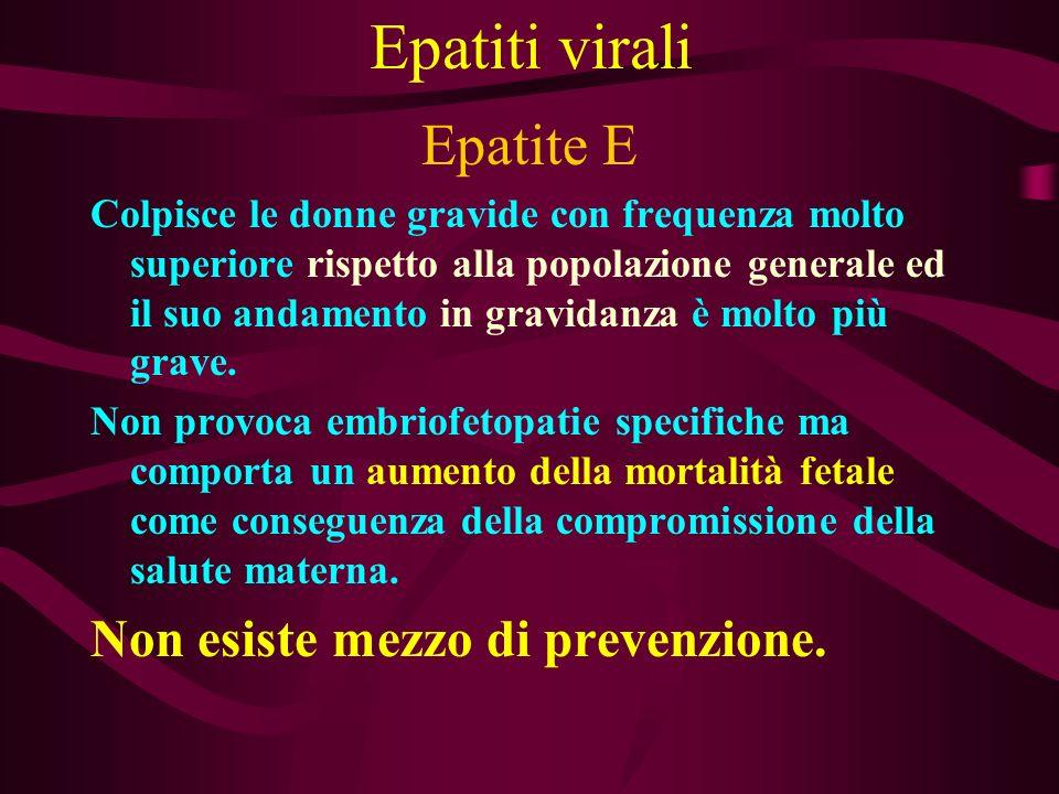 Epatiti virali Epatite E Colpisce le donne gravide con frequenza molto superiore rispetto alla popolazione generale ed il suo andamento in gravidanza