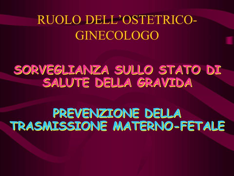 RUOLO DELLOSTETRICO- GINECOLOGO SORVEGLIANZA SULLO STATO DI SALUTE DELLA GRAVIDA PREVENZIONE DELLA TRASMISSIONE MATERNO-FETALE SORVEGLIANZA SULLO STAT