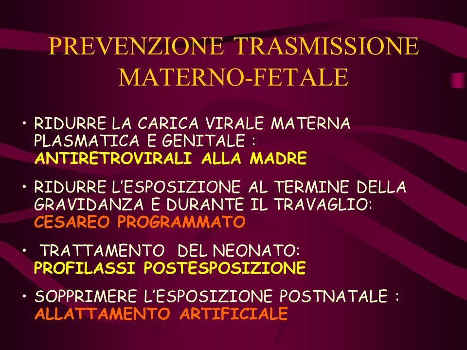 PREVENZIONE TRASMISSIONE MATERNO-FETALE RIDURRE LA CARICA VIRALE MATERNA PLASMATICA E GENITALE : ANTIRETROVIRALI ALLA MADRE RIDURRE LESPOSIZIONE AL TE
