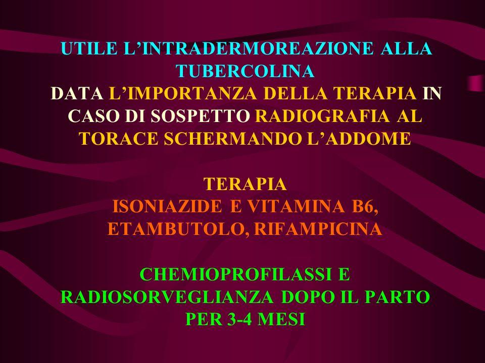 UTILE LINTRADERMOREAZIONE ALLA TUBERCOLINA DATA LIMPORTANZA DELLA TERAPIA IN CASO DI SOSPETTO RADIOGRAFIA AL TORACE SCHERMANDO LADDOME TERAPIA ISONIAZ