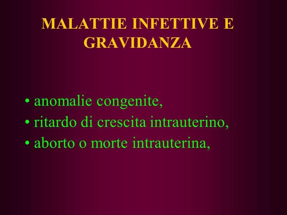 MALATTIE INFETTIVE E GRAVIDANZA anomalie congenite, ritardo di crescita intrauterino, aborto o morte intrauterina,