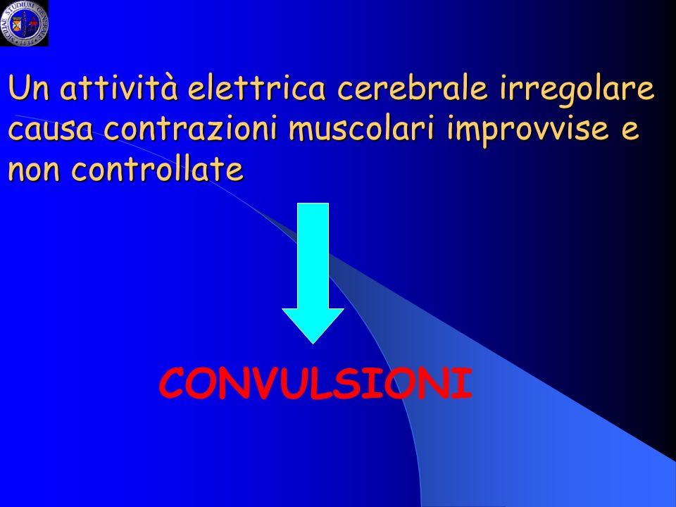 Un attività elettrica cerebrale irregolare causa contrazioni muscolari improvvise e non controllate CONVULSIONI