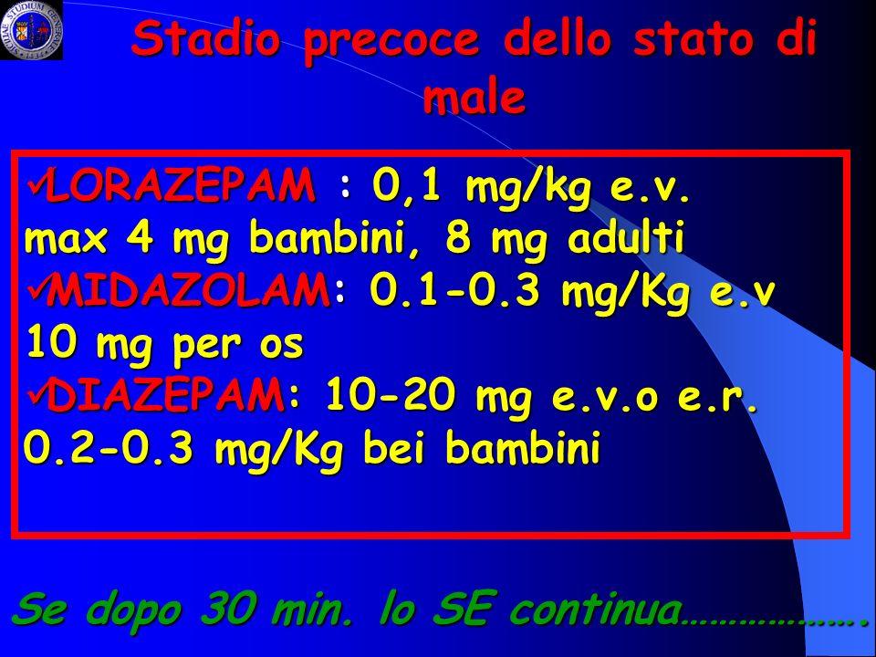 Stadio precoce dello stato di male LORAZEPAM : 0,1 mg/kg e.v. LORAZEPAM : 0,1 mg/kg e.v. max 4 mg bambini, 8 mg adulti MIDAZOLAM: 0.1-0.3 mg/Kg e.v 10