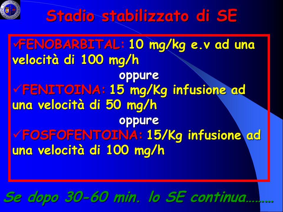 Stadio stabilizzato di SE FENOBARBITAL10 mg/kg e.v ad una velocità di 100 mg/h FENOBARBITAL: 10 mg/kg e.v ad una velocità di 100 mg/hoppure FENITOINA:
