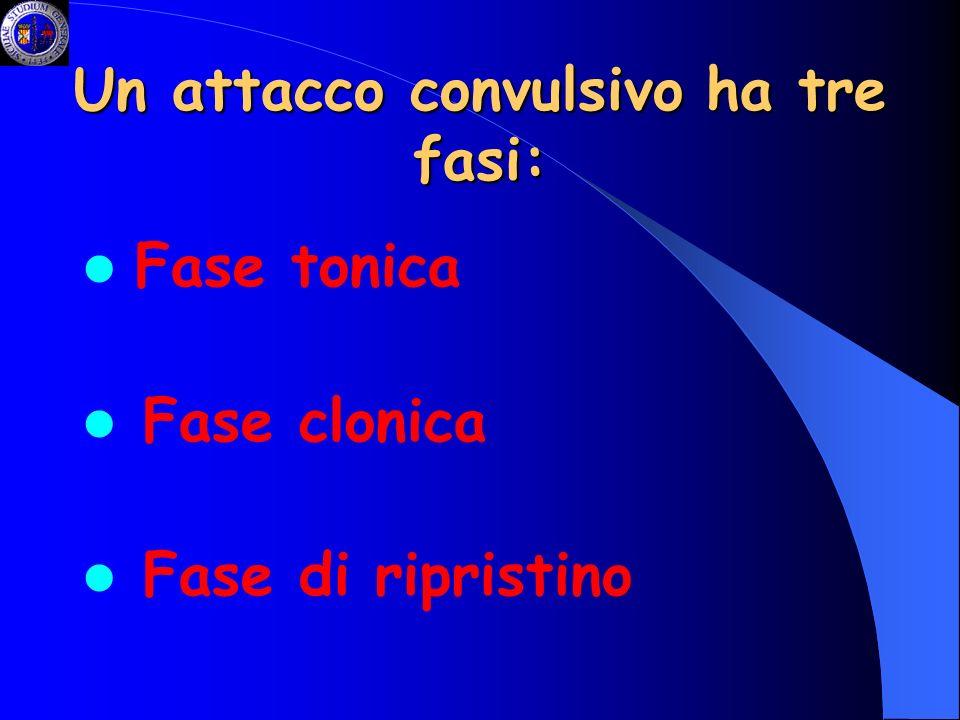 Un attacco convulsivo ha tre fasi: Fase tonica Fase clonica Fase di ripristino