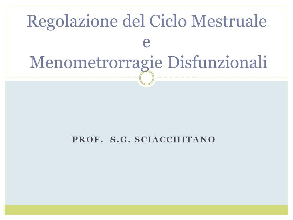 PROF. S.G. SCIACCHITANO Regolazione del Ciclo Mestruale e Menometrorragie Disfunzionali