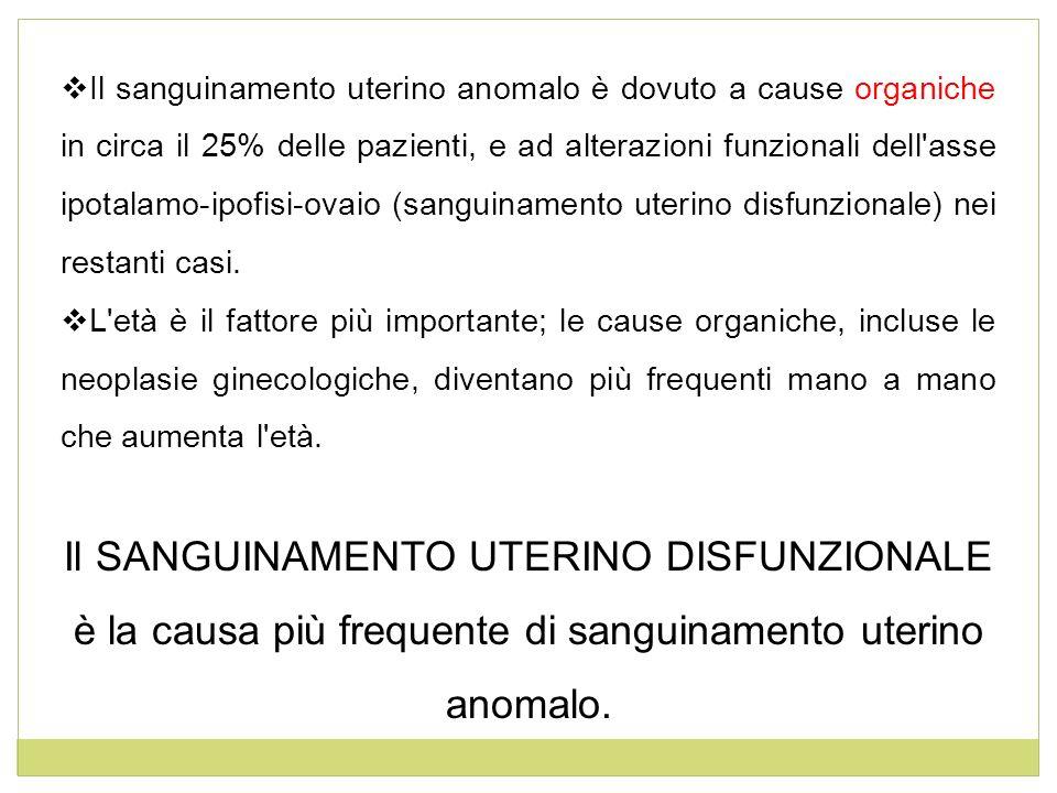 Il sanguinamento uterino anomalo è dovuto a cause organiche in circa il 25% delle pazienti, e ad alterazioni funzionali dell'asse ipotalamo-ipofisi-ov
