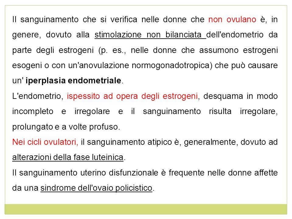 Il sanguinamento che si verifica nelle donne che non ovulano è, in genere, dovuto alla stimolazione non bilanciata dell'endometrio da parte degli estr
