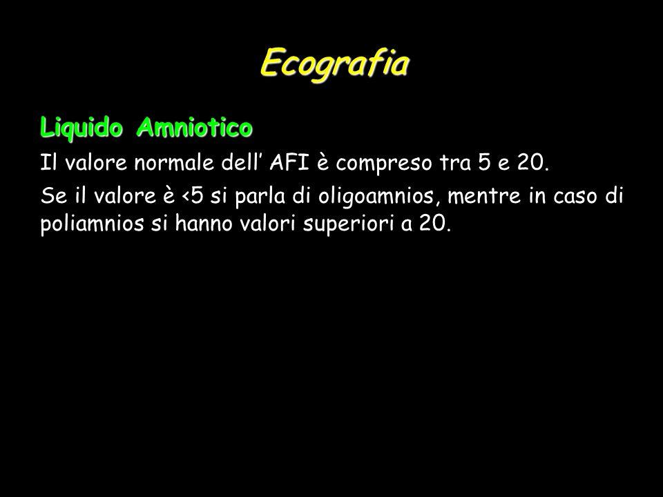 Ecografia Liquido Amniotico Il valore normale dell AFI è compreso tra 5 e 20. Se il valore è <5 si parla di oligoamnios, mentre in caso di poliamnios