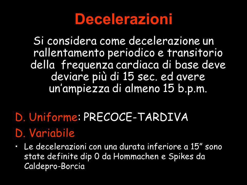 Decelerazioni Si considera come decelerazione un rallentamento periodico e transitorio della frequenza cardiaca di base deve deviare più di 15 sec.