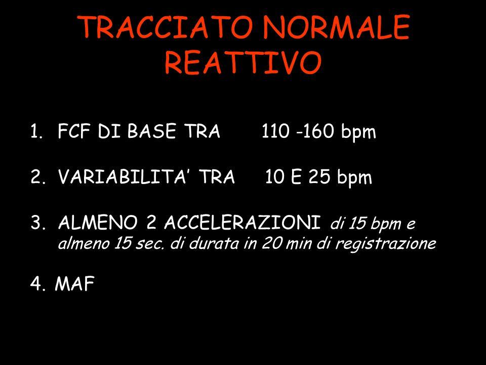 TRACCIATO NORMALE REATTIVO 1.FCF DI BASE TRA 110 -160 bpm 2.VARIABILITA TRA 10 E 25 bpm 3.ALMENO 2 ACCELERAZIONI di 15 bpm e almeno 15 sec.