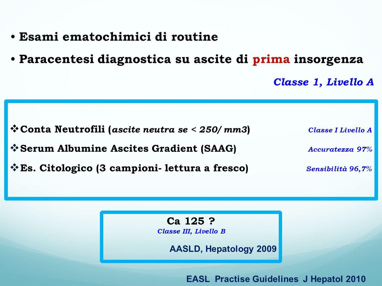 Conta Neutrofili ( ascite neutra se < 250/ mm3 ) Classe I Livello A Serum Albumine Ascites Gradient (SAAG) Accuratezza 97% Es. Citologico (3 campioni-
