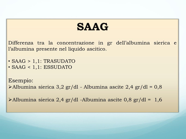 SAAG Differenza tra la concentrazione in gr dellalbumina sierica e lalbumina presente nel liquido ascitico. SAAG > 1,1: TRASUDATO SAAG < 1,1: ESSUDATO
