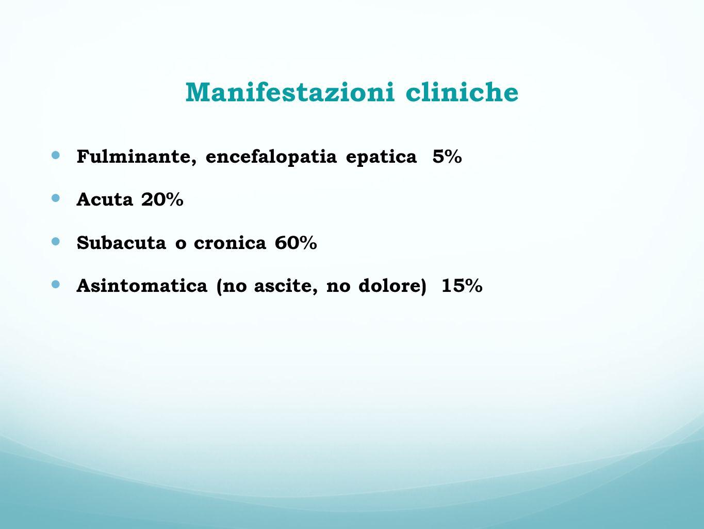 Manifestazioni cliniche Fulminante, encefalopatia epatica 5% Acuta 20% Subacuta o cronica 60% Asintomatica (no ascite, no dolore) 15%