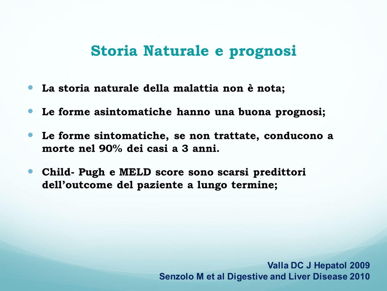 Storia Naturale e prognosi La storia naturale della malattia non è nota; Le forme asintomatiche hanno una buona prognosi; Le forme sintomatiche, se no