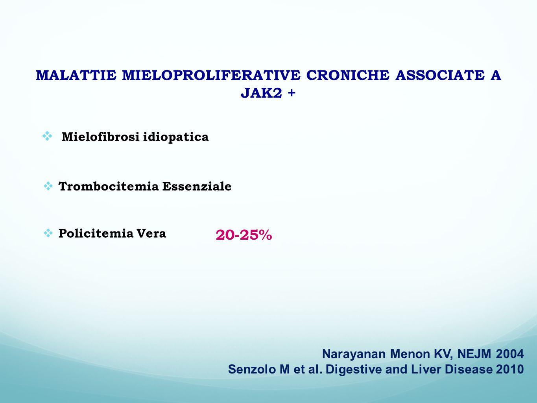 MALATTIE MIELOPROLIFERATIVE CRONICHE ASSOCIATE A JAK2 + Mielofibrosi idiopatica Trombocitemia Essenziale Policitemia Vera Narayanan Menon KV, NEJM 200