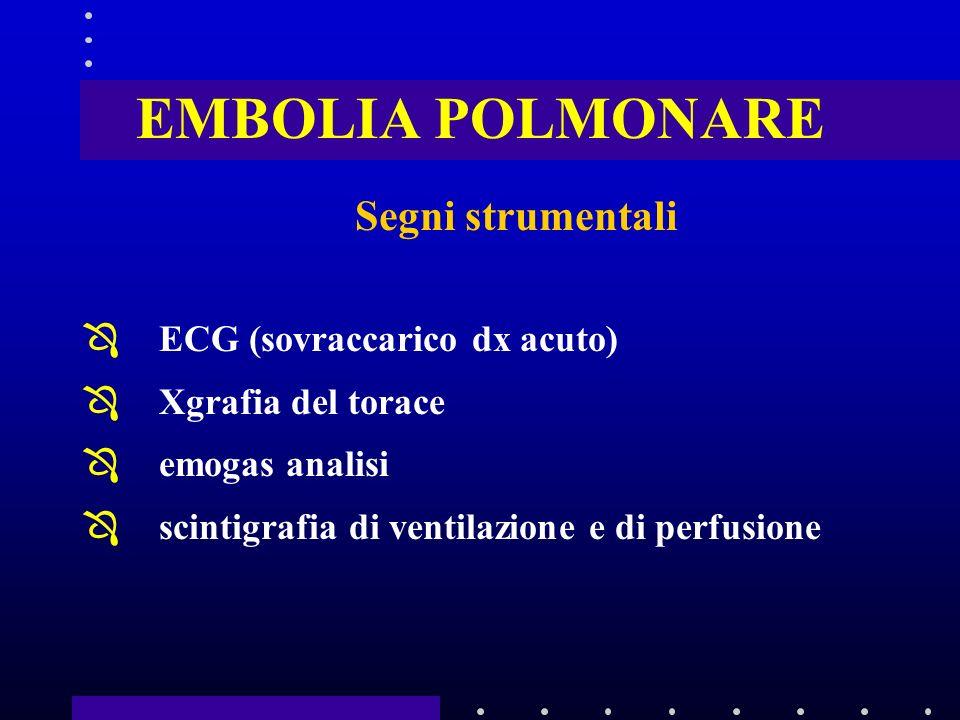 EMBOLIA POLMONARE Segni strumentali ÔECG (sovraccarico dx acuto) ÔXgrafia del torace Ôemogas analisi Ôscintigrafia di ventilazione e di perfusione
