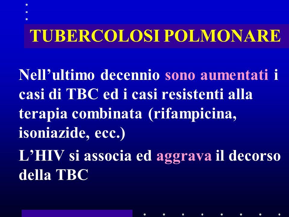 TUBERCOLOSI POLMONARE Nellultimo decennio sono aumentati i casi di TBC ed i casi resistenti alla terapia combinata (rifampicina, isoniazide, ecc.) LHIV si associa ed aggrava il decorso della TBC