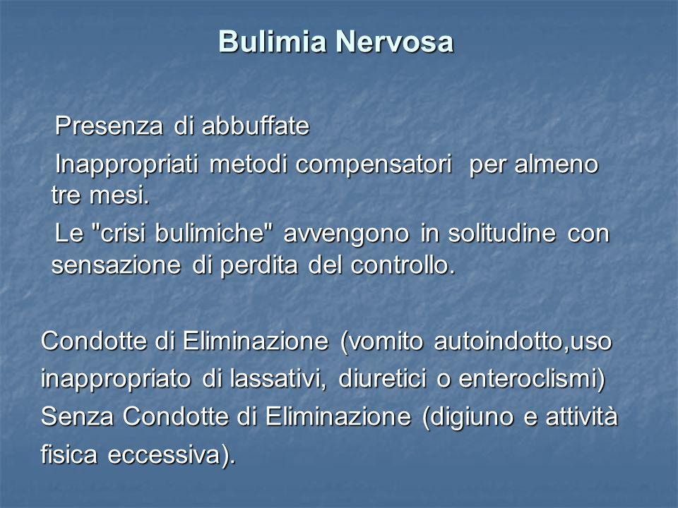 Bulimia Nervosa Bulimia Nervosa Presenza di abbuffate Presenza di abbuffate Inappropriati metodi compensatori per almeno tre mesi. Inappropriati metod