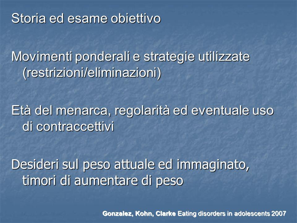 Storia ed esame obiettivo Movimenti ponderali e strategie utilizzate (restrizioni/eliminazioni) Età del menarca, regolarità ed eventuale uso di contra