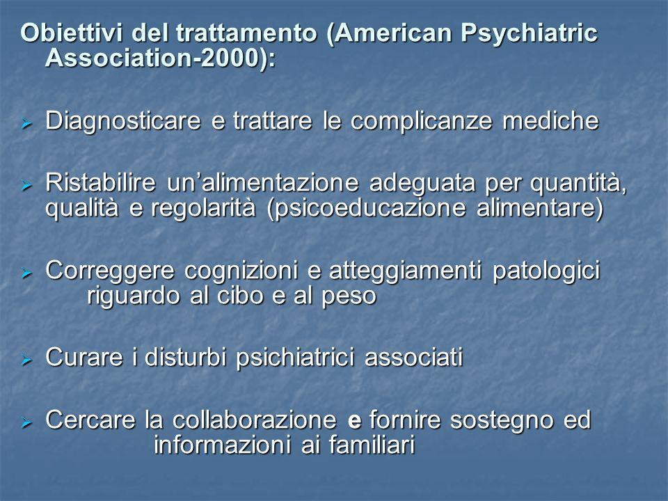 Obiettivi del trattamento (American Psychiatric Association-2000): Diagnosticare e trattare le complicanze mediche Diagnosticare e trattare le complic