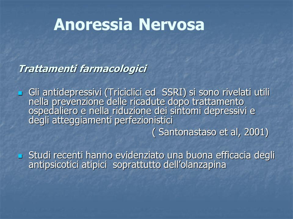 Anoressia Nervosa Trattamenti farmacologici Gli antidepressivi (Triciclici ed SSRI) si sono rivelati utili nella prevenzione delle ricadute dopo tratt