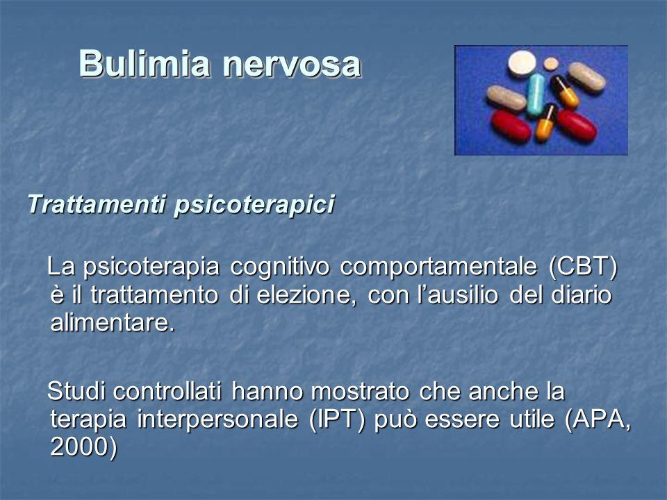 Trattamenti psicoterapici La psicoterapia cognitivo comportamentale (CBT) è il trattamento di elezione, con lausilio del diario alimentare. La psicote
