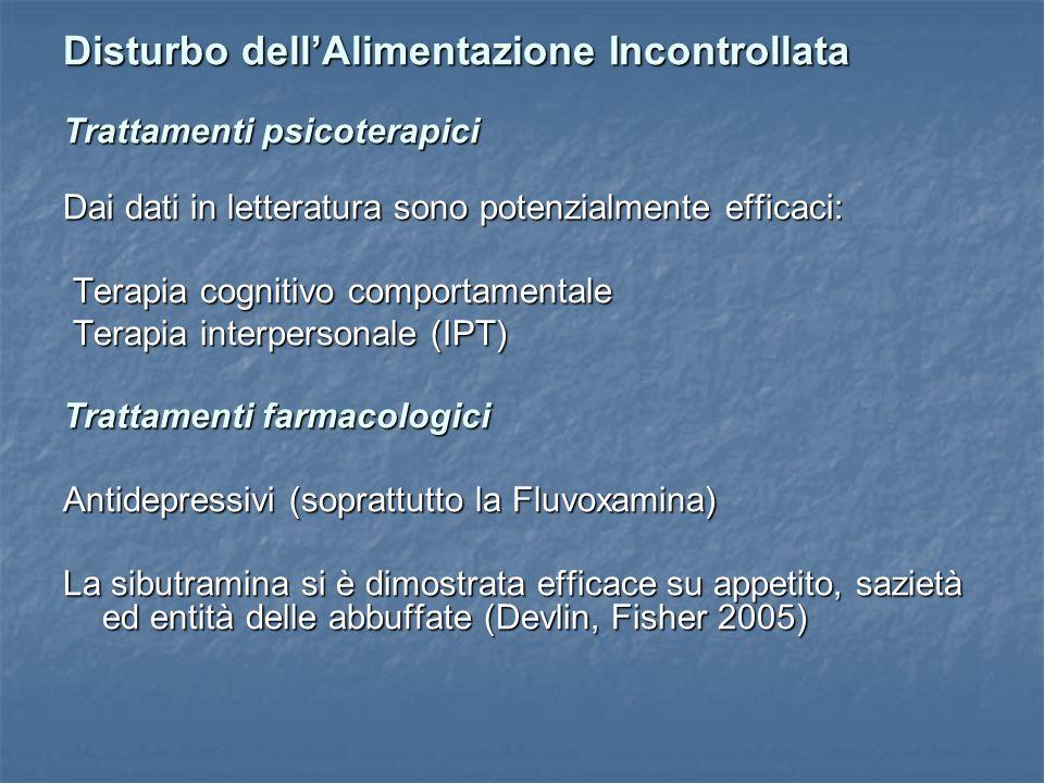 Disturbo dellAlimentazione Incontrollata Trattamenti psicoterapici Dai dati in letteratura sono potenzialmente efficaci: Terapia cognitivo comportamen