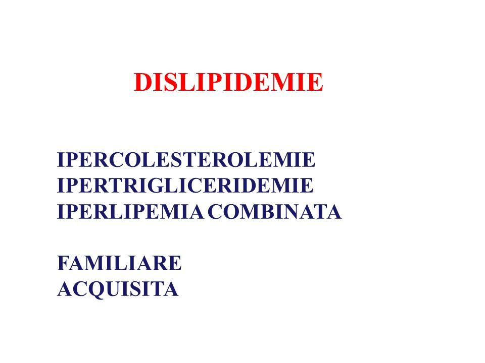 DISLIPIDEMIE IPERCOLESTEROLEMIE IPERTRIGLICERIDEMIE IPERLIPEMIA COMBINATA FAMILIARE ACQUISITA