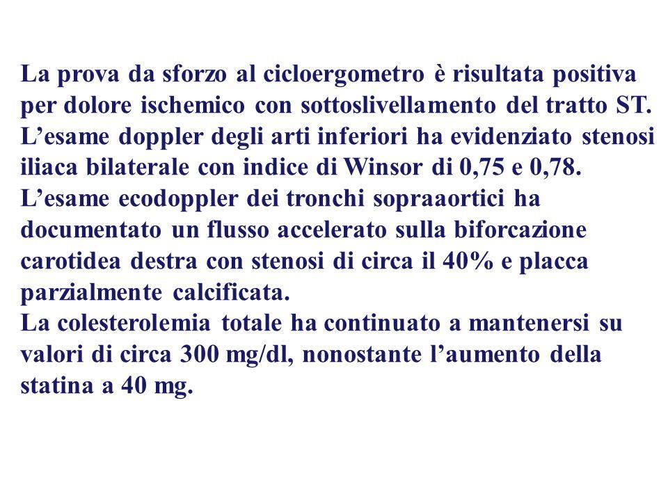 La prova da sforzo al cicloergometro è risultata positiva per dolore ischemico con sottoslivellamento del tratto ST. Lesame doppler degli arti inferio