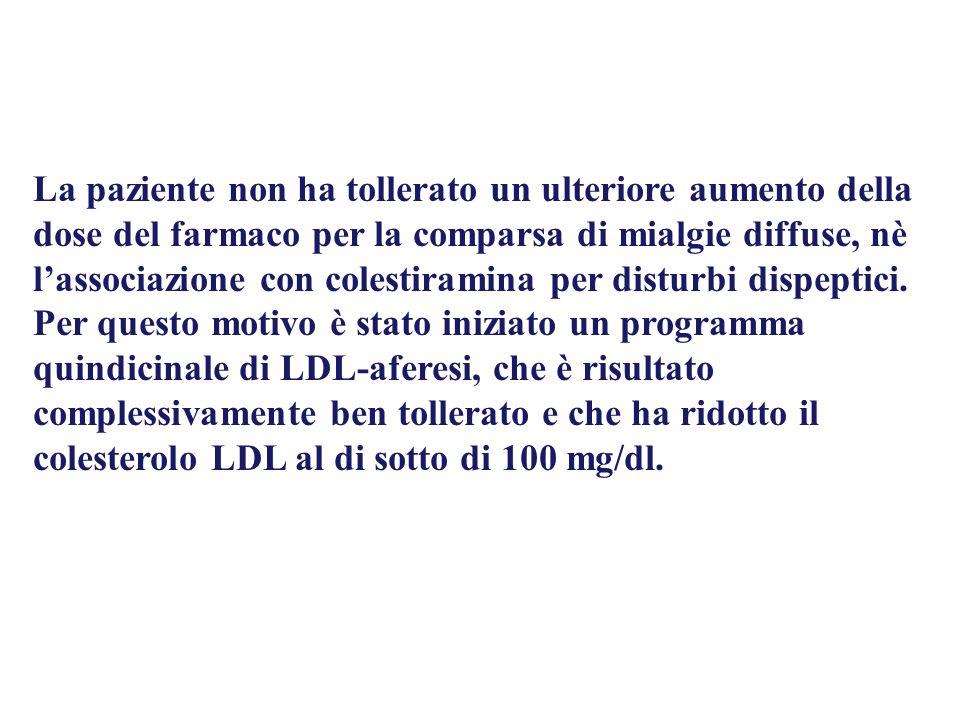 La paziente non ha tollerato un ulteriore aumento della dose del farmaco per la comparsa di mialgie diffuse, nè lassociazione con colestiramina per di