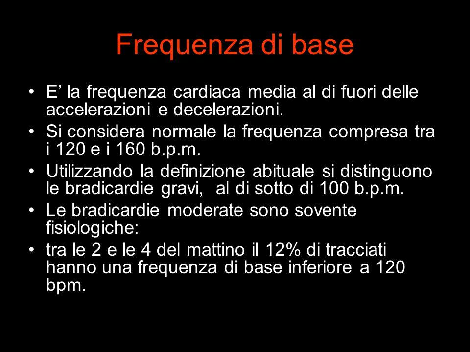 Frequenza di base E la frequenza cardiaca media al di fuori delle accelerazioni e decelerazioni. Si considera normale la frequenza compresa tra i 120